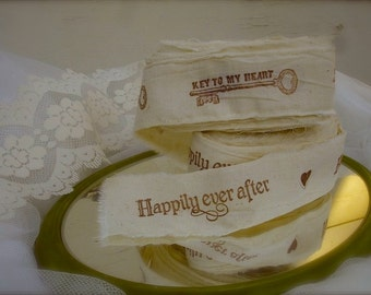"""8 yards handstamped muslin ribbons, handstamped """" happily ever after"""" , party decor, wedding decor (Buy 2 get 1 free"""