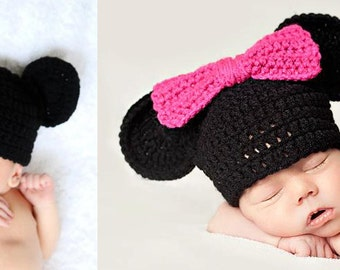 Instant Download PDF Crochet Pattern - No. 7 Baby Mickey & Minnie Inspired Hat - 3 Sizes