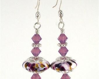 Handmade Lampwork Swarovski Crystal Earrings Purple Yellow White  Silver SRAJD