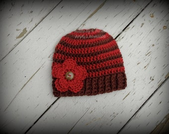 Fall Stripe Beanie - Crochet Pattern 68 - Maple Leaf, Button Flower, Pumpkin - US and UK Terms - Newborn to Adult - Instant DOWNLOAD