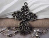2pc. Beautiful Flower Cross Charms --- Antique Bronze Color --- CHM - 129