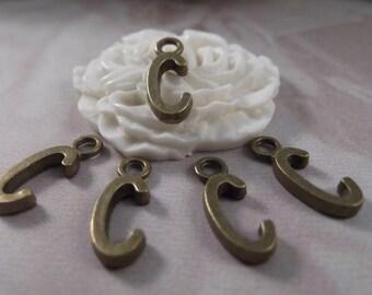 """5 Letter """"C"""" Antique Bronze Charms ---Antique Bronze Color"""