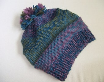 Blue Green and Purple Knit Wool Hat