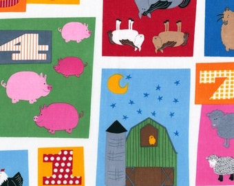 SALE - Robert Kaufman - Barnyard Counting - Scattered Animal Blocks - Animal Novelty Fabric- By the Yard