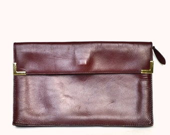 Vintage Wine Leather Clutch Vtg Burgundy Leather Clutch Burgundy Leather Purse