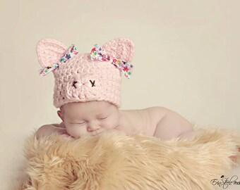 pig hat, newborn hat, newborn girl hat, crochet pig hat, baby pig hat, baby hat, baby girl hat,  baby girl pig hat