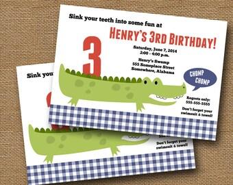 Alligator Birthday Invitation   Gingham Gator Party   Summer Pool Party   Boy's Birthday   Cute Alligator   Crocodile Party   DIY PRINTABLE