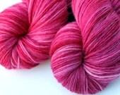 "January Birthstone Yarn, Kettle Dyed Superwash Merino, Cashmere and Nylon Fingering Weight, in ""Rhodolite Garnet"""
