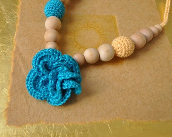 Flower Nursing Necklace/Teething Necklace-Turquoise Yellow-Mother's day