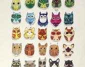 Owl Stickers set of  25