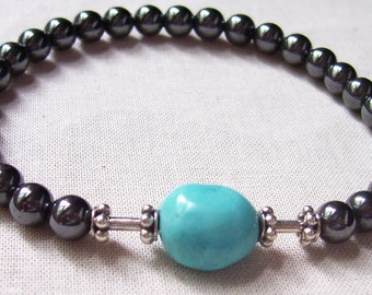 Unisex Hemitite, Sterling Silver and Turquoise Bracelet