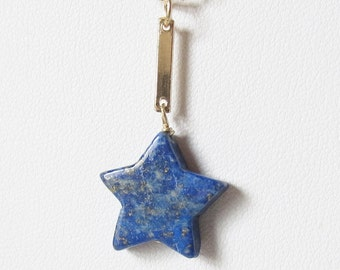 Lapis Star Pendant on Fine Gauge 14k Gold Filled Chain with Bar Link