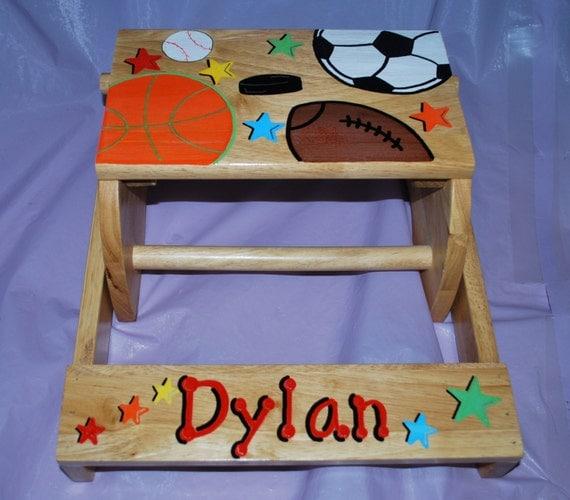 Children S White Or Natural Flip Step Stool Bench Sports