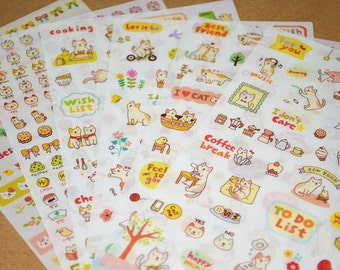 Cute Cat Diary Sticker Set - 6 Sheets 200 Pcs,Kitten,Flower,Message