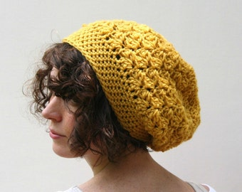 Beanie Slouchy Hat Crochet Slouchy Style Hat Textured HDC Mustard or Choose Your Color