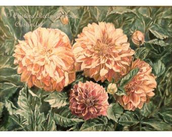 Dahlia Flowers Art Print, Peach Dahlias, Orange -Pink Dahlias, Floral and Flowers  art print,11x14 art  print