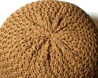 Knitted Pouf - ottoman, foot stool, floor pillow - with cognac brown cotton yarn