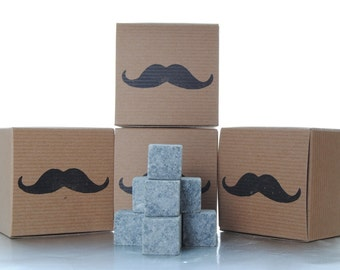 Groomsmen Whiskey Stones 9 piece Gift Set - Groomsman Gift - mustache stamped - best man gift