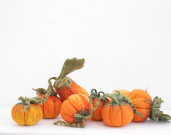 Big set of eight needle felted pumpkins, the halloween & thanksgiving home decor, eco decorations.
