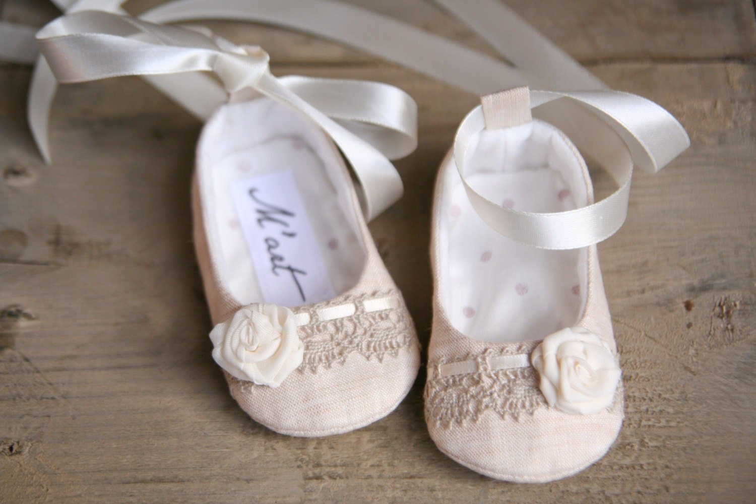 Natural LINEN baby girl shoes ballerina slippers summer