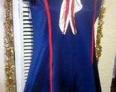 Vintage Sailor Girl Mini Dress Costume.  Red, White and Blue with Sequin Trim. Flirty Sailor, Patriotic, Showgirl, Pin Up Costume