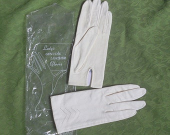 Vintage Leather Driving Gloves Ivory Winter White Women's Size Small Made in Japan