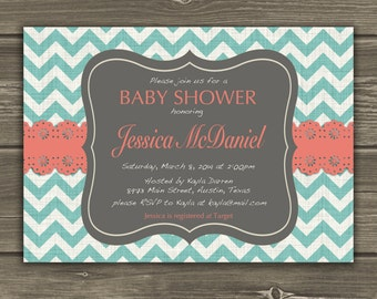 Teal Chevron Baby Shower Invitation Coral Lace Custom DIY