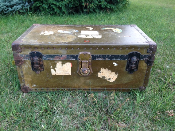 RESERVED for Roger Antique Steamer Trunk  Genuine National Vulcanized Trunk Fibre
