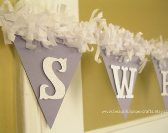 Awesome Lavender Baby Shower Decorations Sweet Baby Banner   Pom Pom NAME Banner
