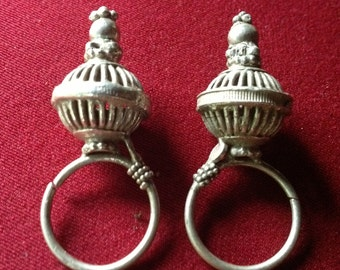 Old tribal silver earrings from Gujarat India