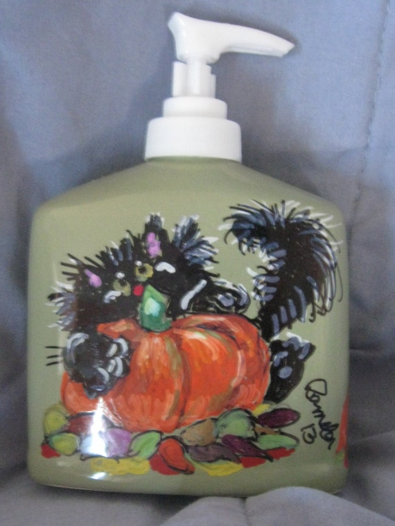 6 Inch Tall Soap dispenser for Halloween or Fall Time Hand Painted home decor, Black Cat  ready for a Booitful Halloween