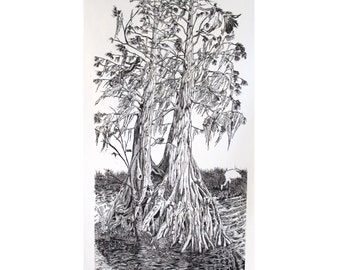 "Cypress Swamp 15.5""x30"" silk screen print, old growth cypress tree in New Orleans"