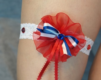 Bridal Wedding Patriotic Garter, Single Garter Belt, Burlesque, 4th of July, American Red White and Blue, Red Garter, Stretch Lace
