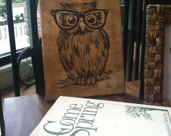 "Adorable Owl with Glasses Canvas Art ""Spectacle Owl"""