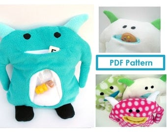 Monster Plush Pattern PDF Stuffed Children's Toy Unique Plushie Sewing Tutorial DIY Softie