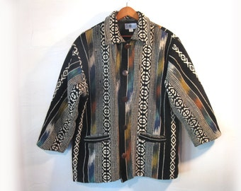 Tribal Blanket 100% Cotton Jacket Coat, Fully Lined, by Daily Planet, Size L