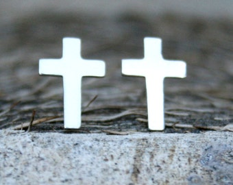 Sterling Silver Post Earrings - Cross