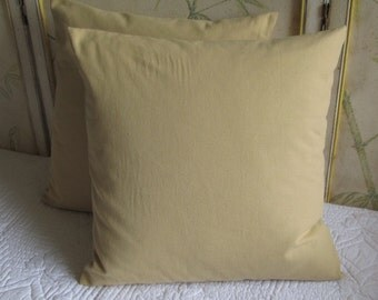 pair of maize organic cotton duck pillow covers with inserts
