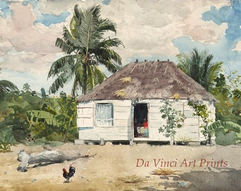 Winslow Homer Watercolor Reproductions. Native Huts, Nassau, 1885. Fine Art Print.