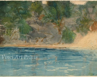 Winslow Homer Watercolor Reproductions. Blue Spring, Florida - 1890. Fine Art Print.