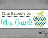 """Customized """"This Belongs To"""" Labels - Charming Teacher Gift - Assorted Color Combinations  Available - Set of 30 - Design: Mrs. Cassels*"""