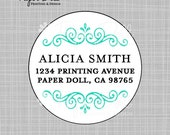 "Address labels - Scallop Swirls - Aqua - 2"" Circle - Design: Alicia"