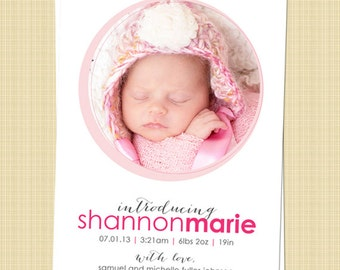 Baby boy, Baby girl Custom Photo Birth Announcement - circles