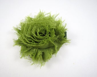 Moss Green Flower Hair Bow - Green Hair Clip - Flower Hair Bow - Shabby Chiffon Hair Clip - Infant Toddler Child Teenager Hair Clip