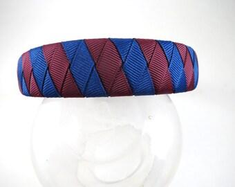 Maroon and Blue Sriped Headband - Burgundy Headband - Blue Headband - Maroon Headband - Ribbon Woven Headband - Braided Headband