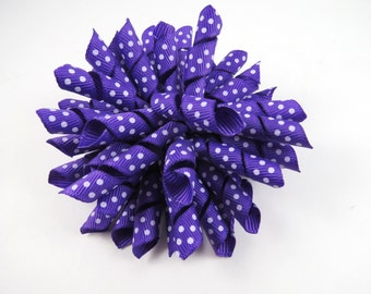 Purple Polka Dot Korker Bow  -  Korker Hair Clip - Purple Hair Bow - Polka Dot Hair Bow
