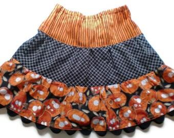 Halloween Skirt, Jack-O-Lanterns Skirt, Toddler Halloween Skirt, Little Girl Skirt, Pumpkin Skirt, Orange and Black Skirt, Girl Skirts