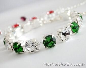 Crystal Bracelet Swarovski Bridesmaid gifts Bridal Bracelet Swarovski Bridal Jewelry Round crystal Stone Choose your Color