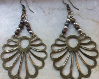 Antique bronze fan shaped chandeliers - handmade earrings