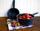 Vintage Cobalt Blue Speckled Enamelware Sauce Pans